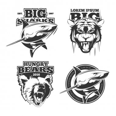 Retro vector labels with grizzly, shark and tiger