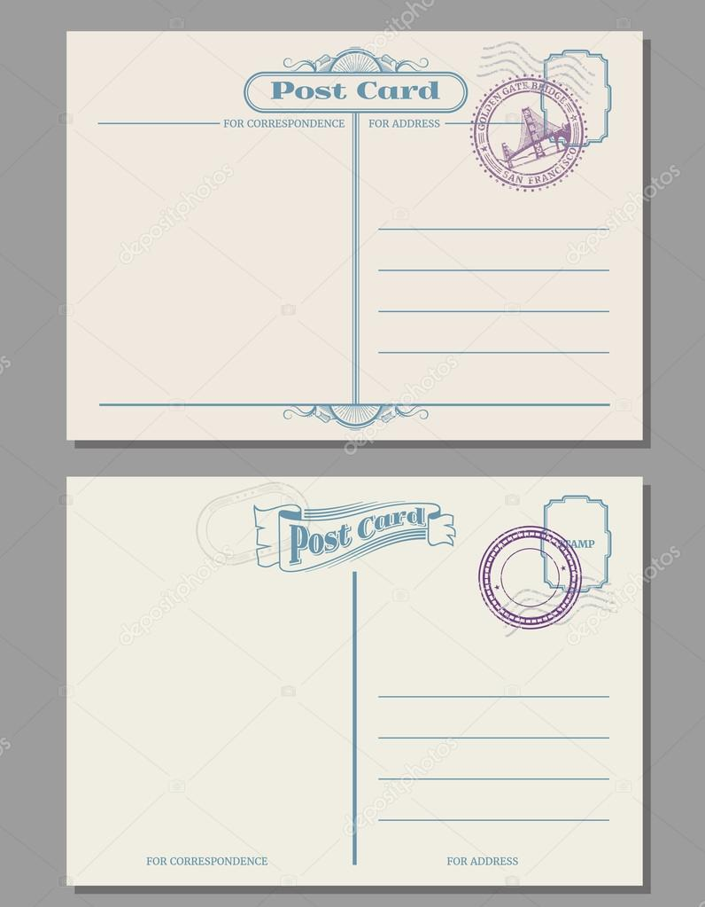 Travel vintage blank postcard with rubber stamps. Vector template ...