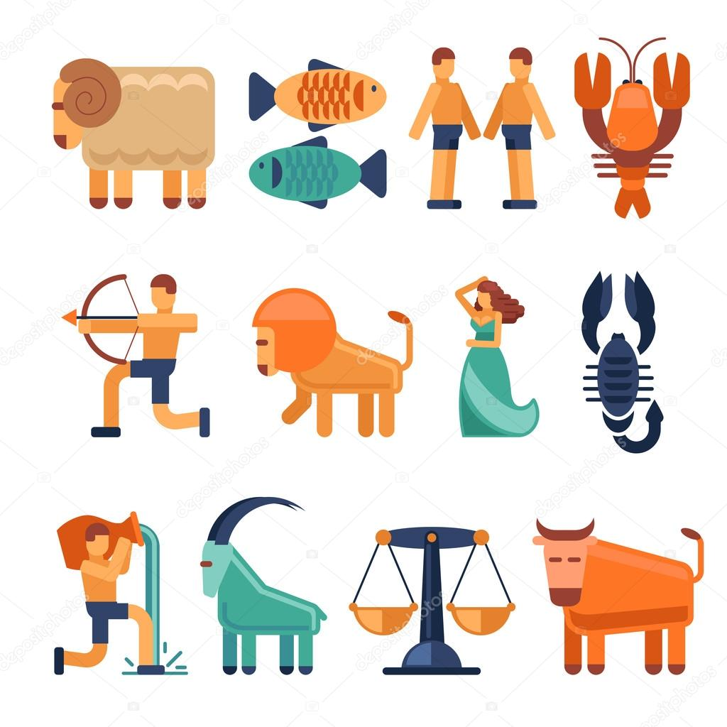 Zodiac Signs In Flat Style And Astrological Icons Or Horoscope
