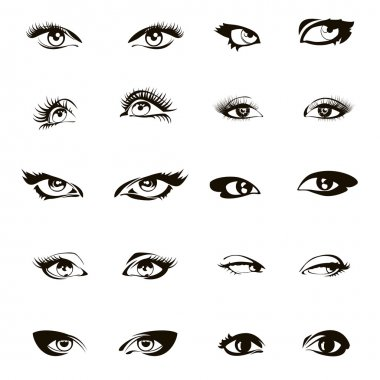 Woman eyes vector. Beautiful female eye set or ink drawing
