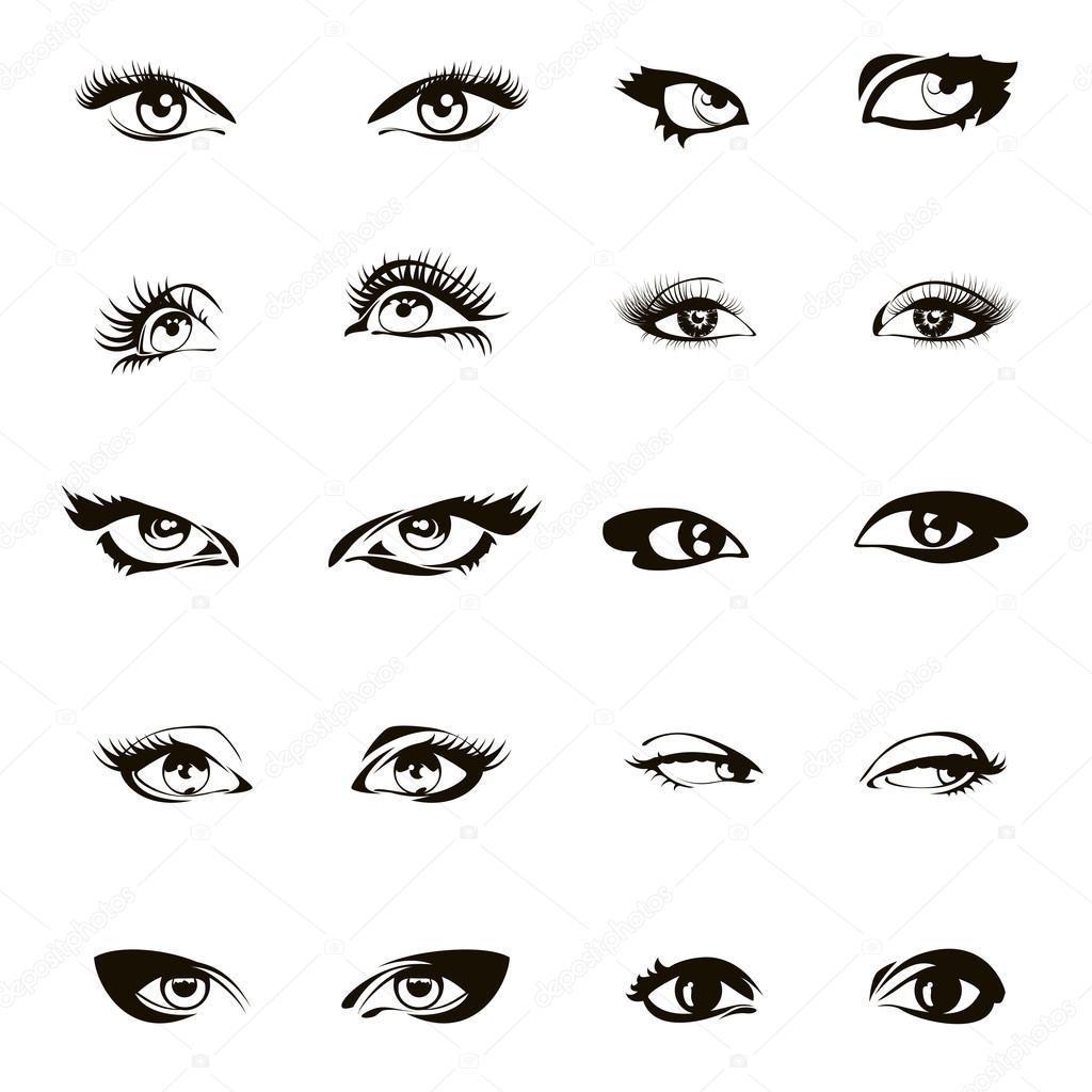 Drawings Of Girl Eyes Woman Eyes Vector Beautiful Female Eye Set Or Ink Drawing Stock Vector C Mssa 123285666