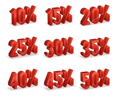 Discount numbers isometric 3d vectors set