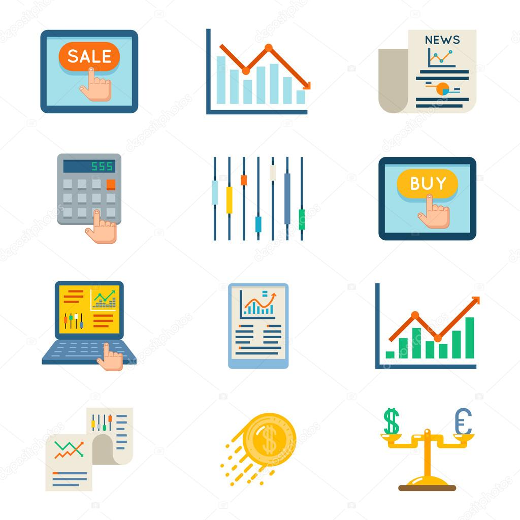 Stock Flat Icons Exchange Signs And Finance Strategy Symbols