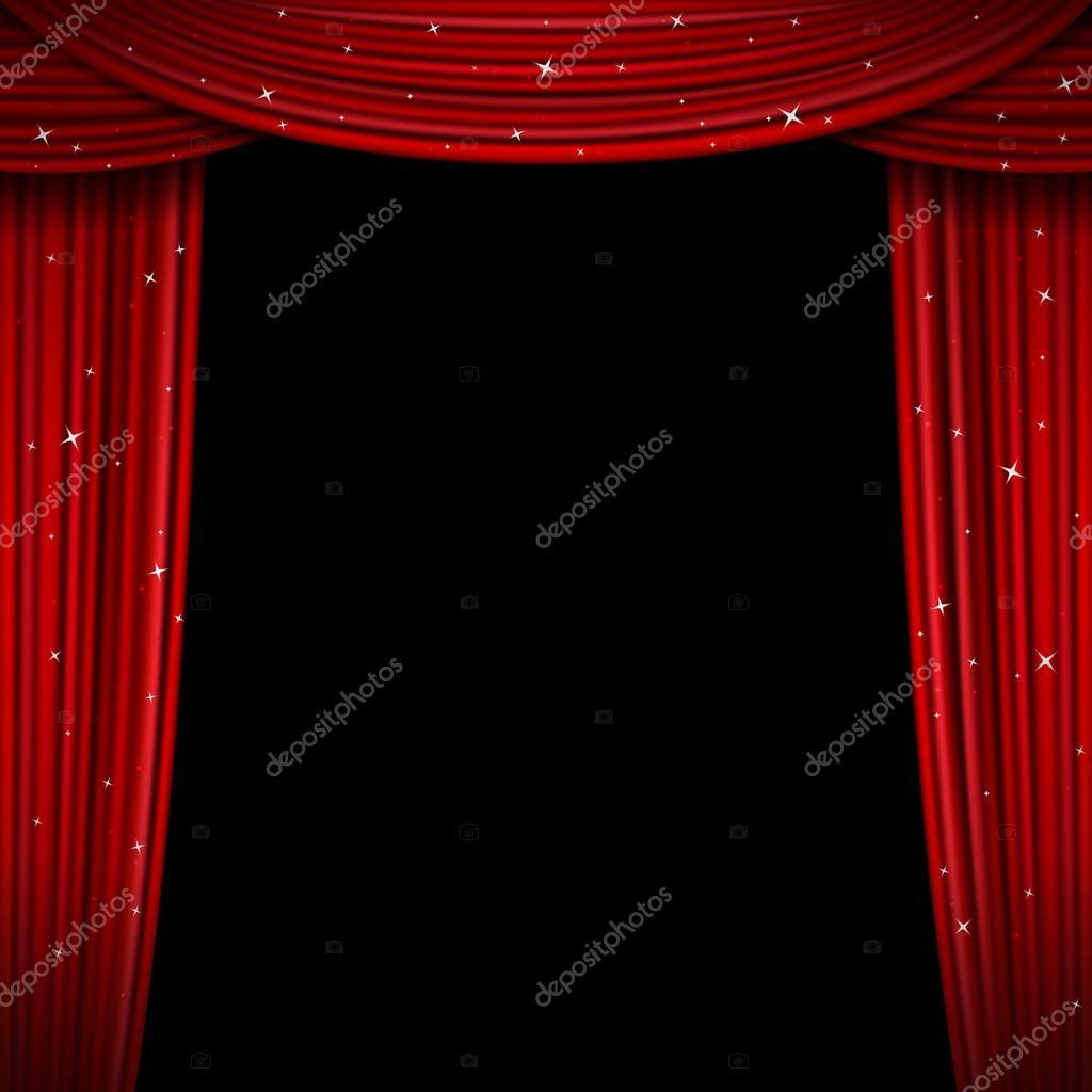Glittering Red Curtain Vector Illustration. Open Glitter Curtains Background  U2014 Stock Vector #124244232