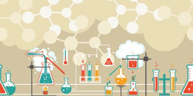 Chemistry infographic in a seamless pattern