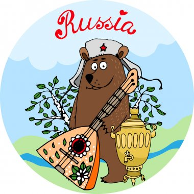 Hospitable Russian bear with a balalaika