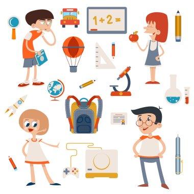 Cartoon School Retro Children Set