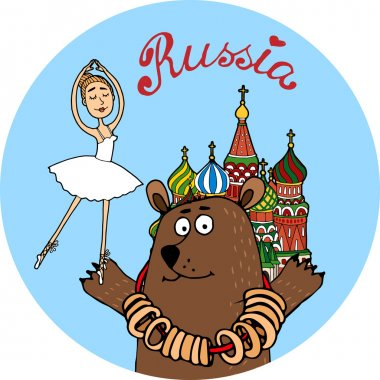 Russia tourism vector badge