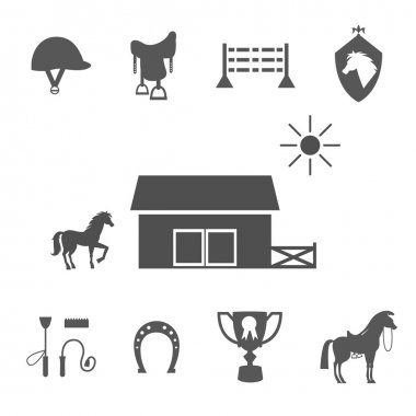 Grayscale Horse Icons on White Background