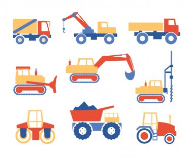 Various Trucks and Construction Machinery Graphics