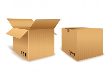 Open and Closed Cardboard Box