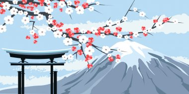 Graphic of Mount Fuji with Cherry Blossoms