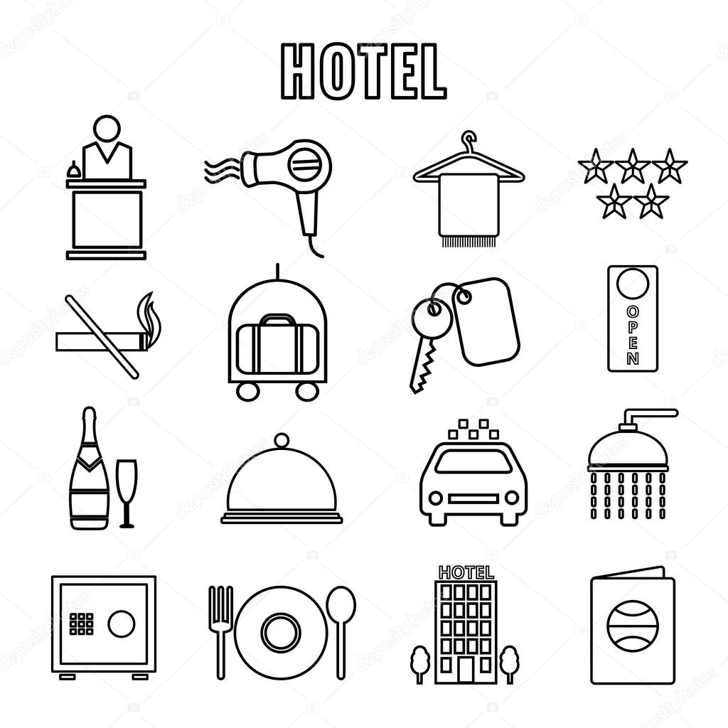 Hotel Themed Line Graphics