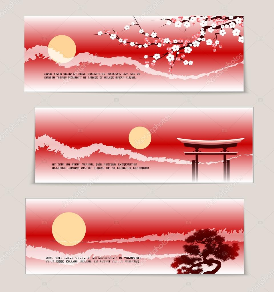 Three vector Japanese landscape banners