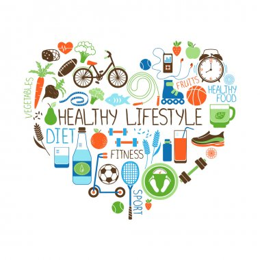 Healthy Lifestyle  Diet and Fitness vector sign in the shape of a heart with multiple icons depicting various sports  vegetables  cereals  seafood  meat  fruit  sleep  weight and beverages stock vector