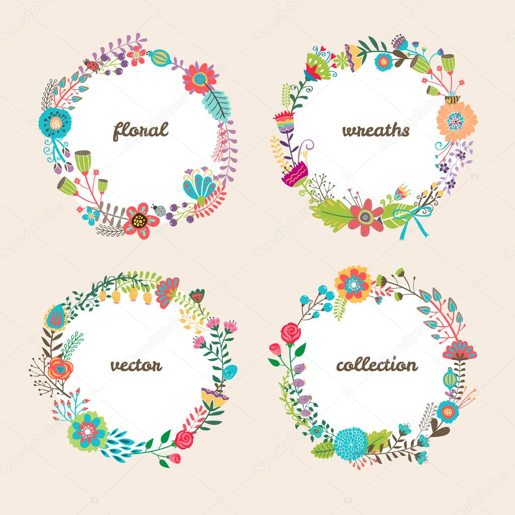 Set of four colorful vector floral wreaths