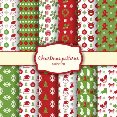 Vector christmas seamless patterns for xmas cards and gift wrapping paper clip art vector