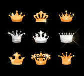 Fotografie Gold and silver crowns icons set