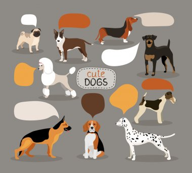 Set of dog breeds with speech bubbles