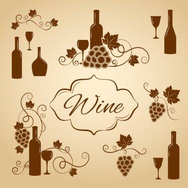 Vintage wine design elements for menu