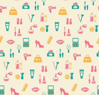 Hairstyling fashion and makeup seamless pattern