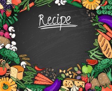 Food Recipe Background on Black Chalkboard
