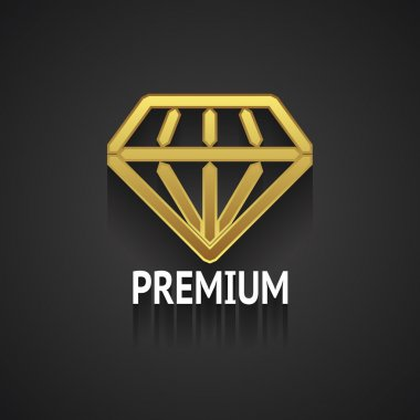Golden Diamond Logo Design on Gray Background