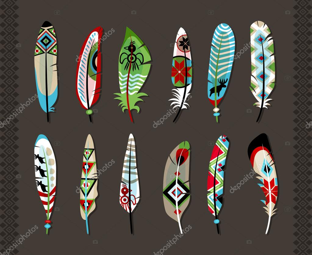 Feathers painted with colorful ethnic pattern