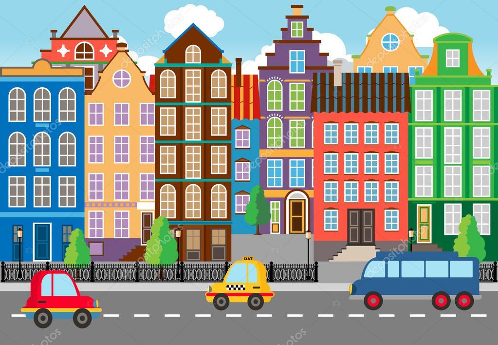 Ciudad Caricatura Vida Gráfico
