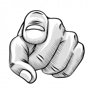 Retro line drawing of a pointing finger
