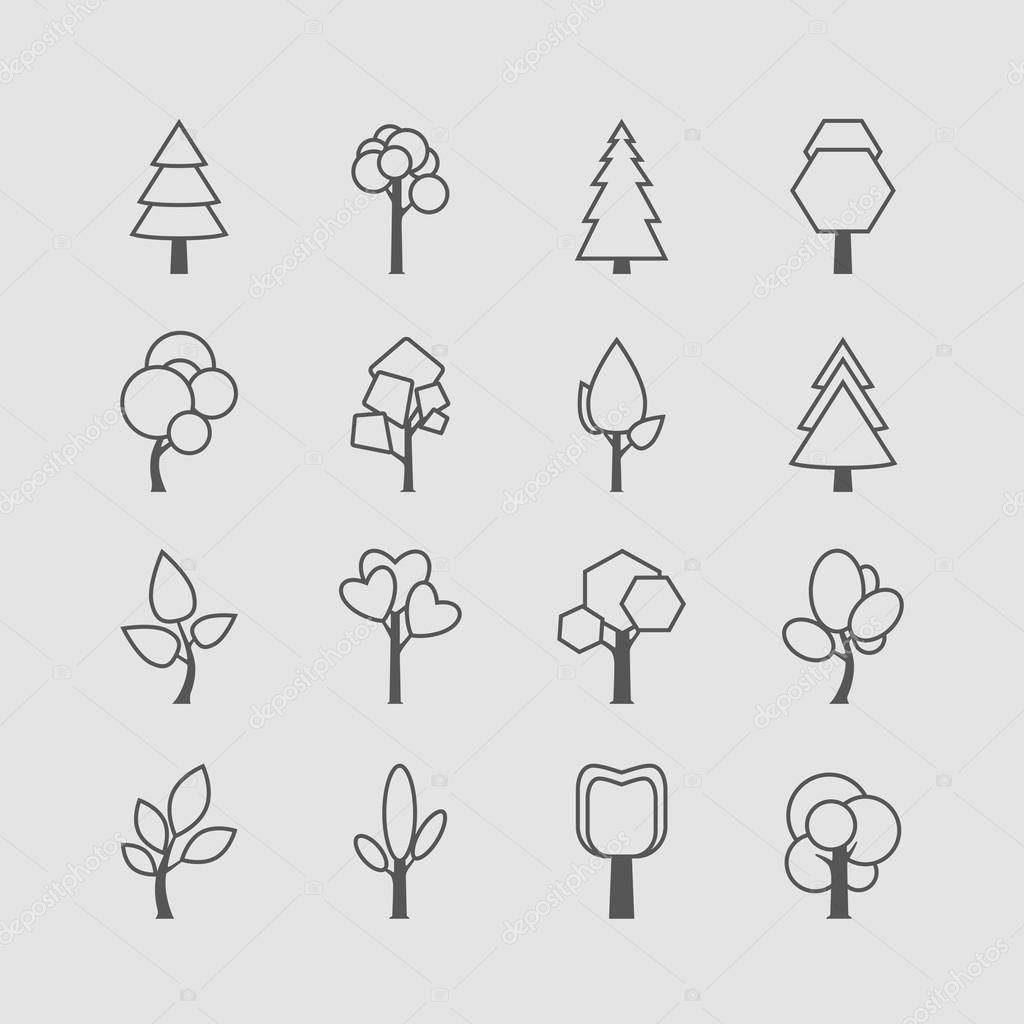 Assorted Outlined Tree Icon Set