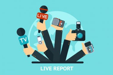 Vector live report concept,  live news, hands of journalists with microphones and tape recorders stock vector