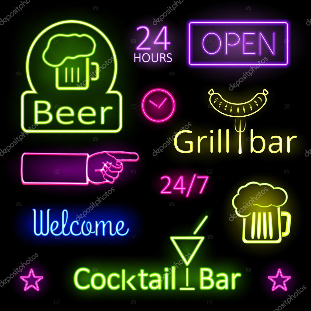 assorted glowing colorful neon lights for bar signs on black background mssa mozeypictures Image collections