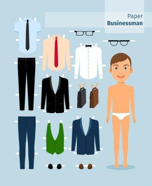 Paper businessman. Suit , shirt, glasses and briefcase