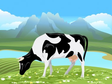 Vector cow and rural meadow landscape