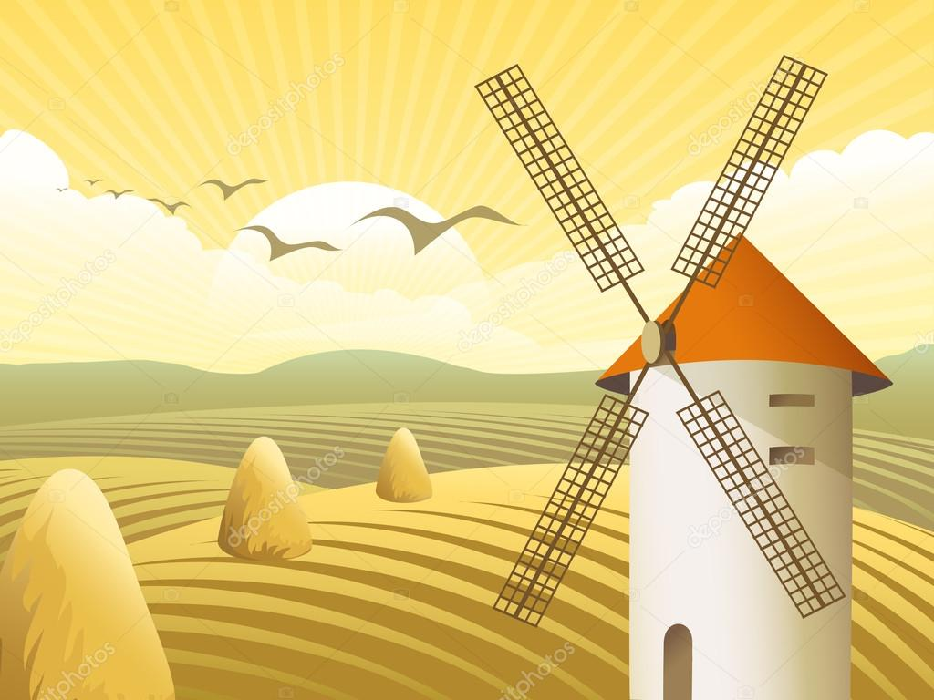 Vector rural landscape