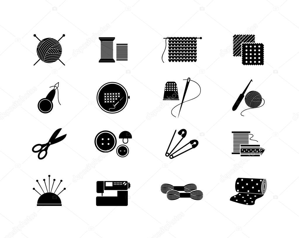 Iconos de costura para coser, tejer, costura, patrón — Vector de ...