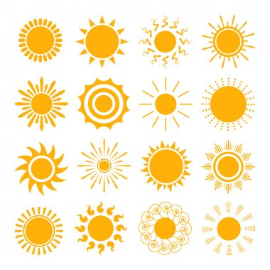 Orange Sun icons. The sun sets straight, florid and twisted rays on white background. Vector illustration stock vector