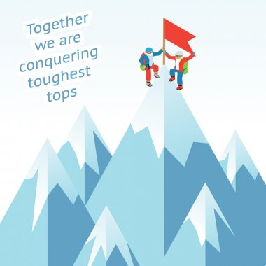 Synergy concept. Business mountain climbing in partnership