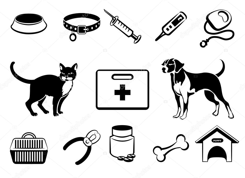 Famosos Ícones de medicina veterinária de animais de estimação — Vetores  JM98