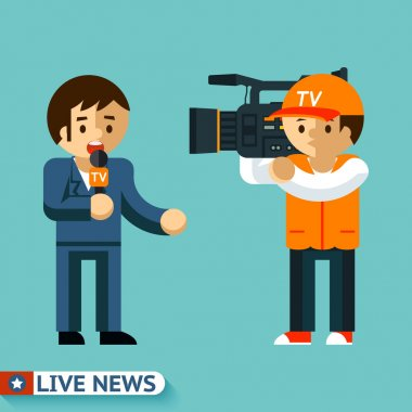 Live news. Journalist is facing the camera