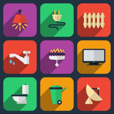 Utilities icons in flat style