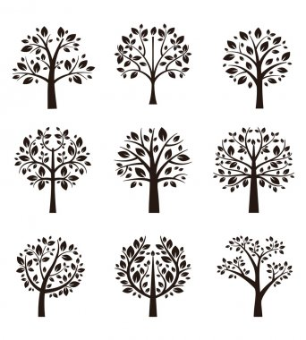 Set of different trees silhouette with roots and branches for logo, label, sign or tattoo. Vector illustration stock vector