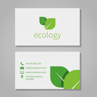 Ecological or eco energy company business card template with green leaves