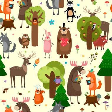 Happy forest animals seamless pattern background