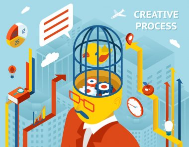 Creative process. Gears in human head