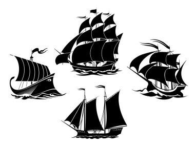 Sailboats and sailing ships silhouettes