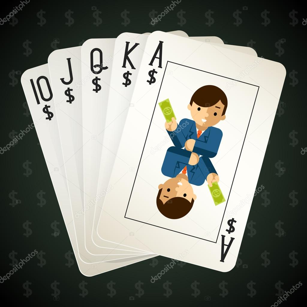 Business royal flush playing cards — Stock Vector © MSSA #66857877