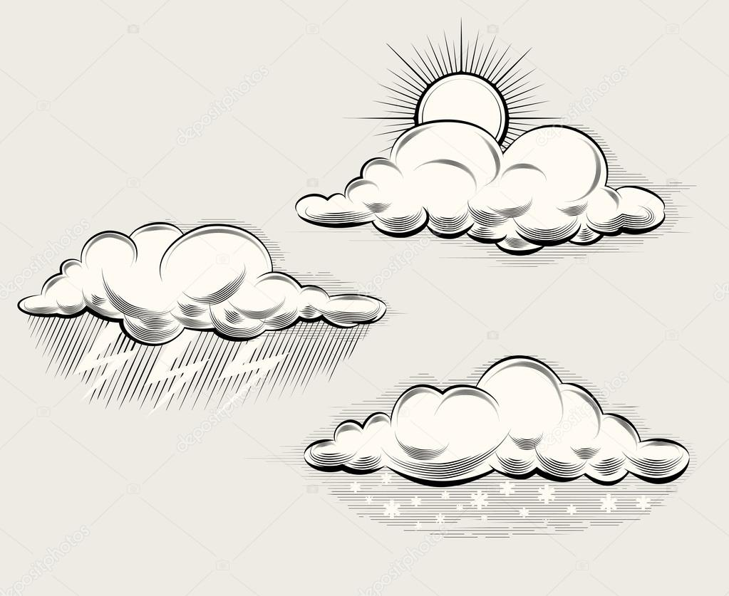 Engraving weather. Sun behind cloud, rain and lightning