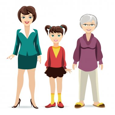 Three ages of women. Daughter, mother and grandmother